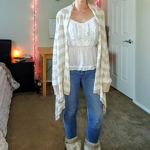 Cream tan stripe longline cardi open front knit
